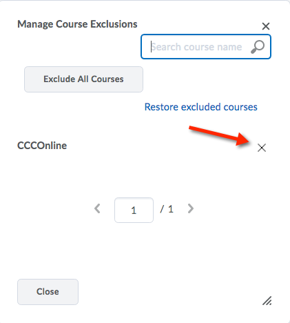Manage Course Exclusions