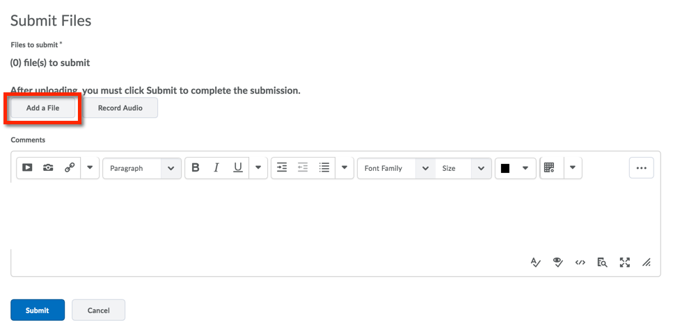 Dropbox submission screen