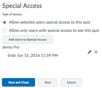Quizzes Special Access