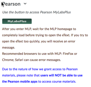 D2L Pearson widget with MyLabsPlus button