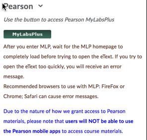 D2L Pearson widget with MyLabsPlus button