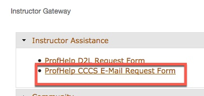 Portal Instructor Gateway Prof-Help CCCS E-mail Form