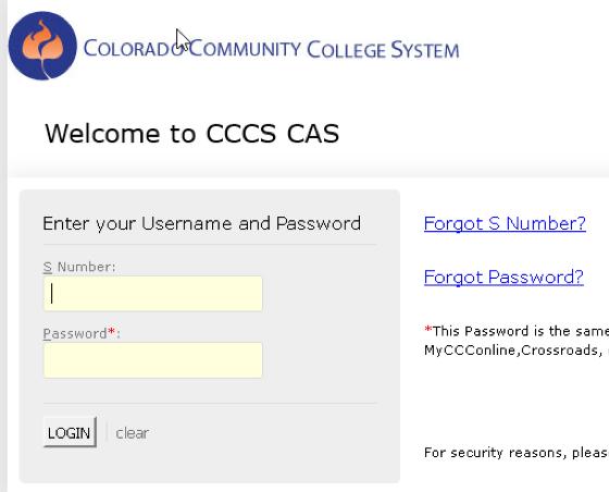 CCCS CAS Login page