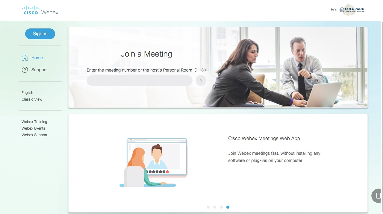CCCS Webex Homepage