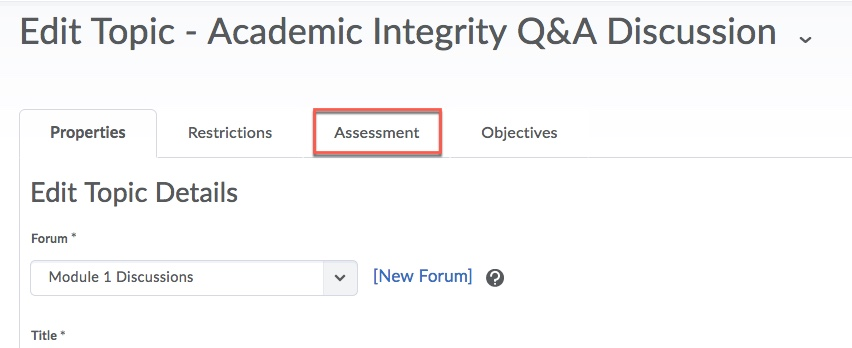 D2L Discussion Assessment Tab