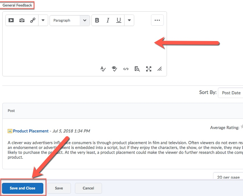 D2L Discussion Feedback Save and Close