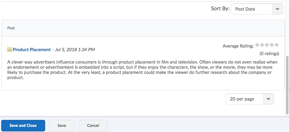 D2L Discussion Post in Topic Score