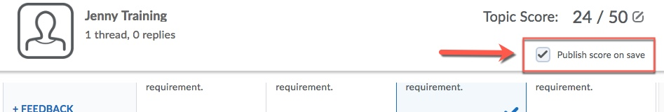 D2L Discussion Publish Score on Save