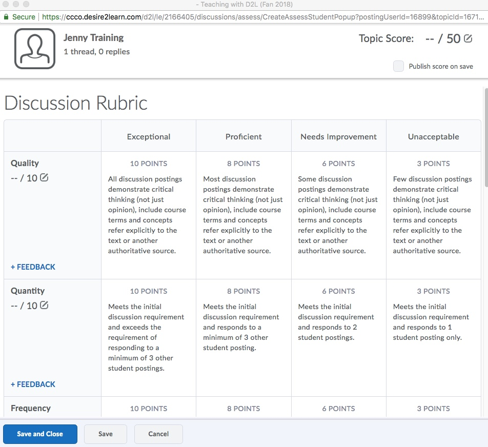 D2L Discussion Rubric