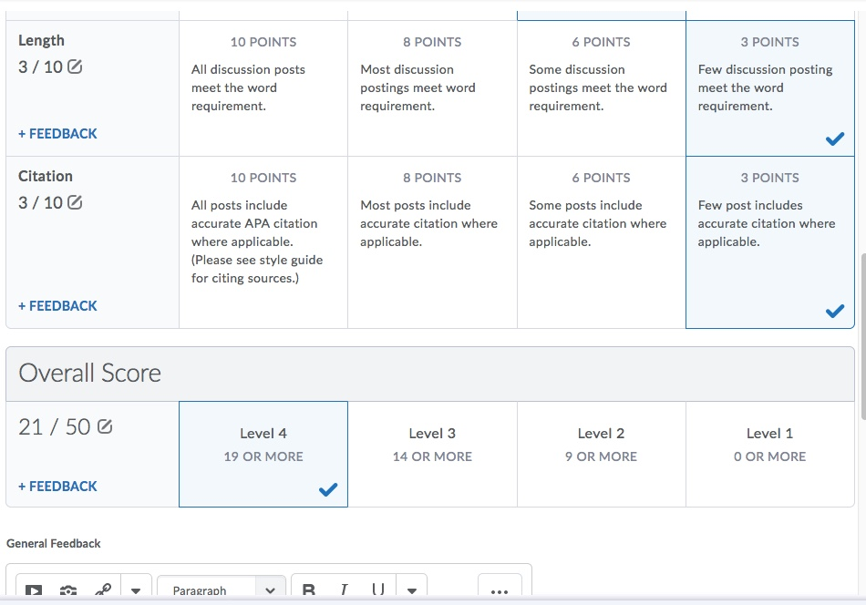 D2L Discussion Rubric Grading Overall Score