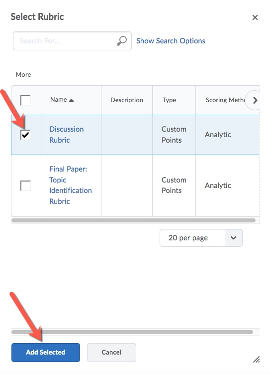 D2L Discussion Select and Add Rubric