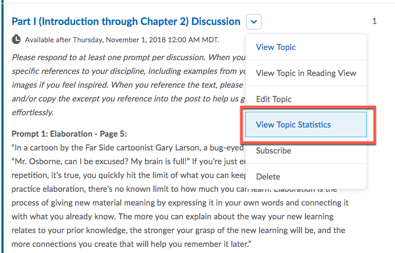 D2L Discussion Topic Statistics
