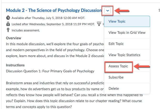 D2L Discussion Assess Topic