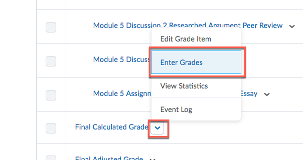 D2L Final Calculated Grade Enter Grades