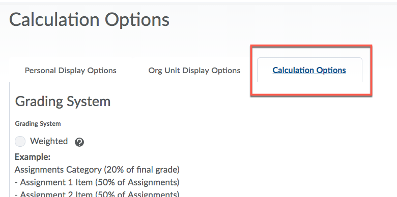 D2L Grades Calculation Options