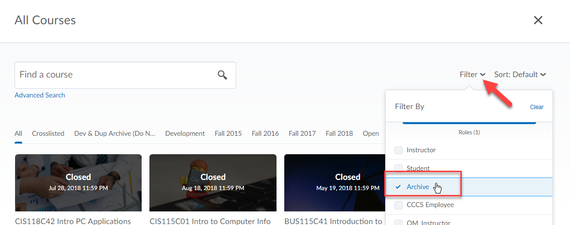 D2L Filter Archived Courses