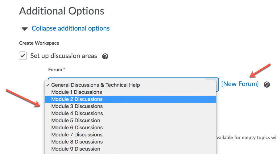 D2L New Group and Discussion and Choose Forum