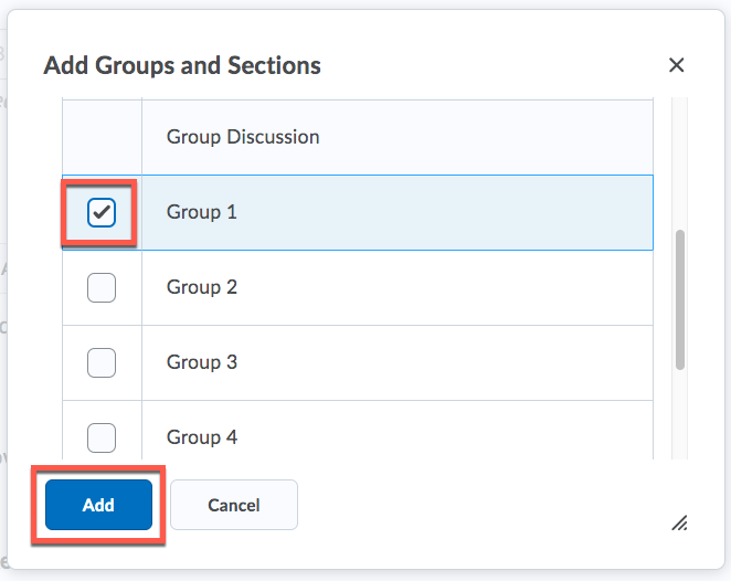 D2L Discussion Add Group