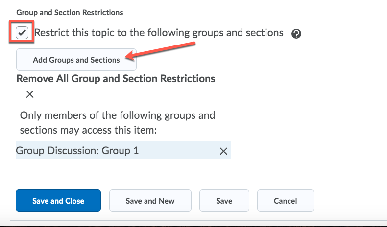 D2L Discussion Group Restriction