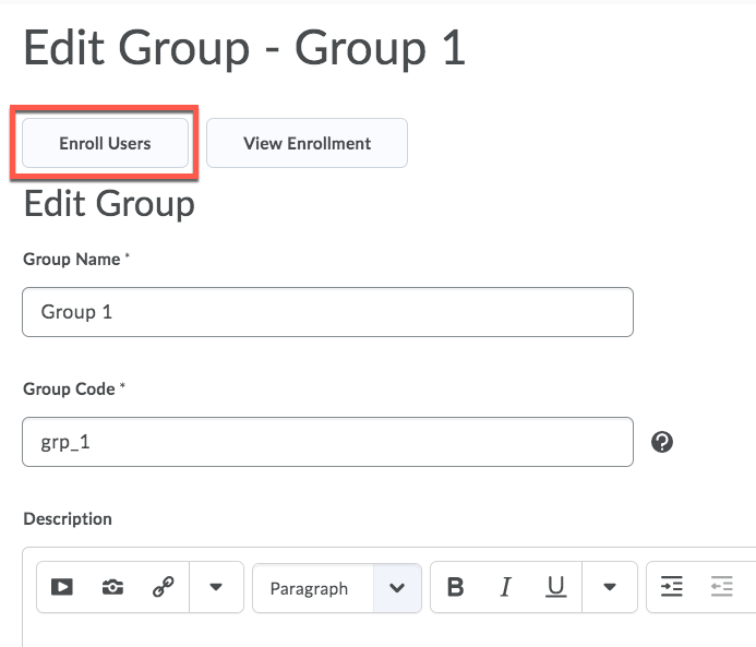 D2L Group and Enroll Users