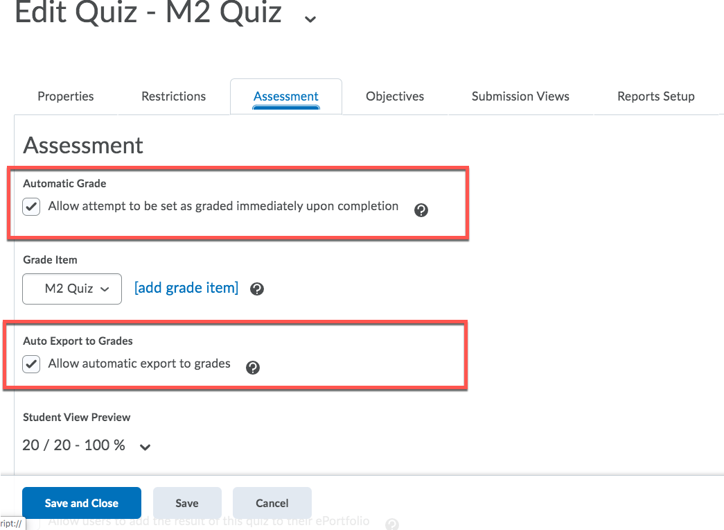 D2L Auto Grade Quiz Settings
