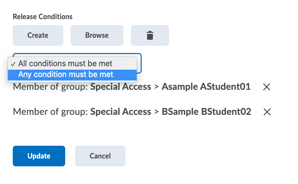 D2L Release Condition-any condition must be met