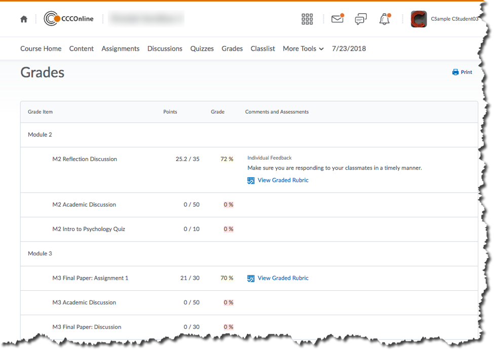 D2L Student View of Discussion Feedback and Grades on Grades Tool