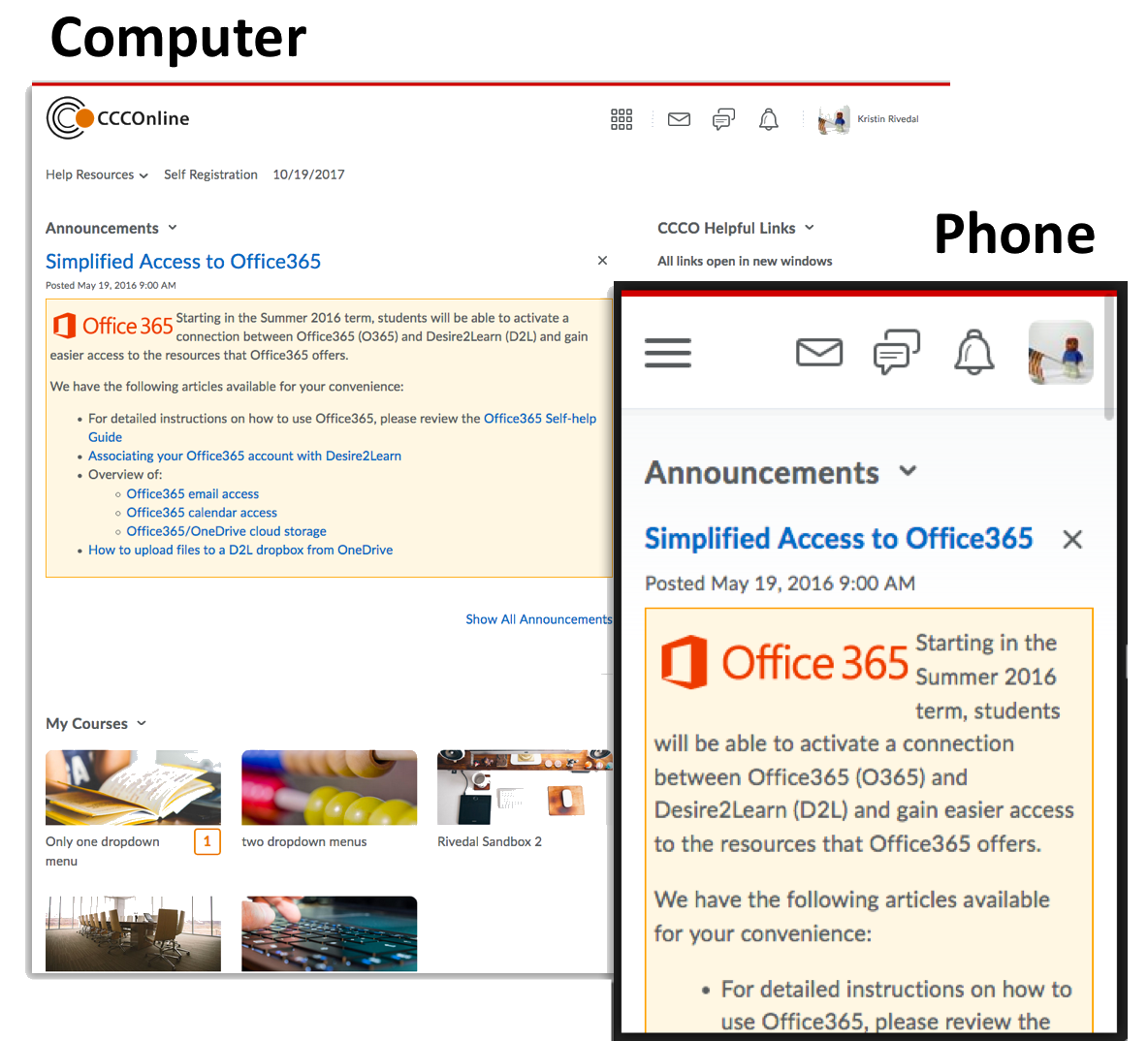image of D2L My Home page as shown on a computer and on a phone