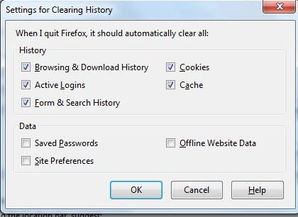 FireFox History options window