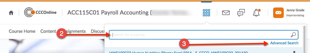 D2L navigation with Course Selector highlighted