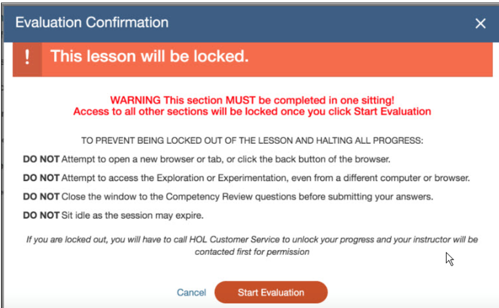HOL lab evaluation confirmation window