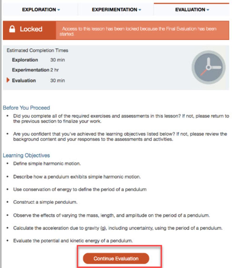 HOL Lock message Continue Evaluation