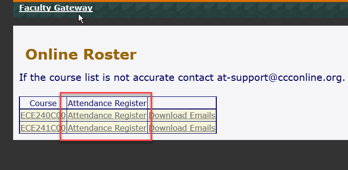Online Roster Attendance Register link