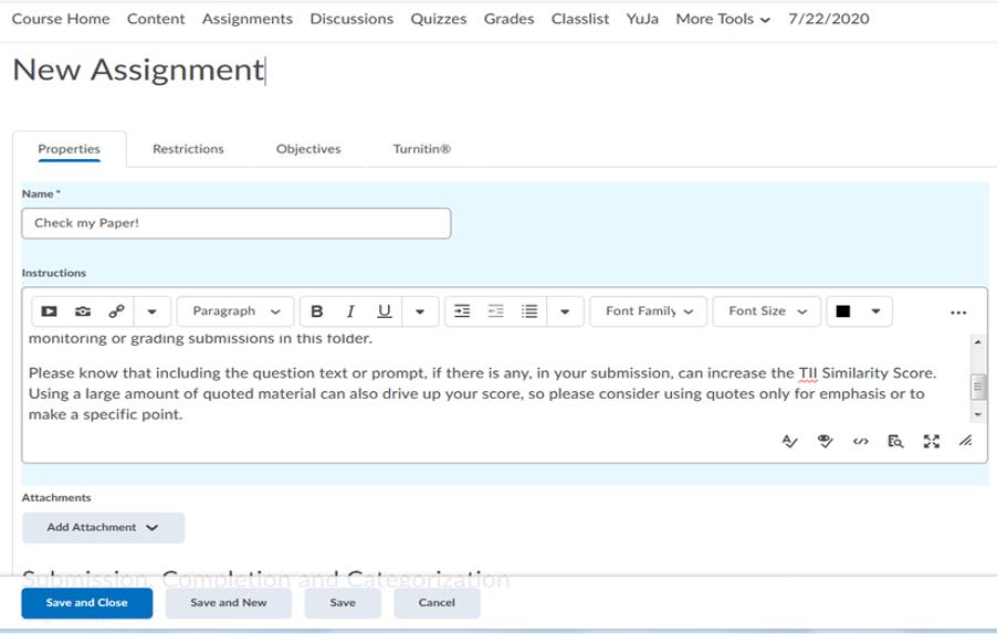 new assignment folder