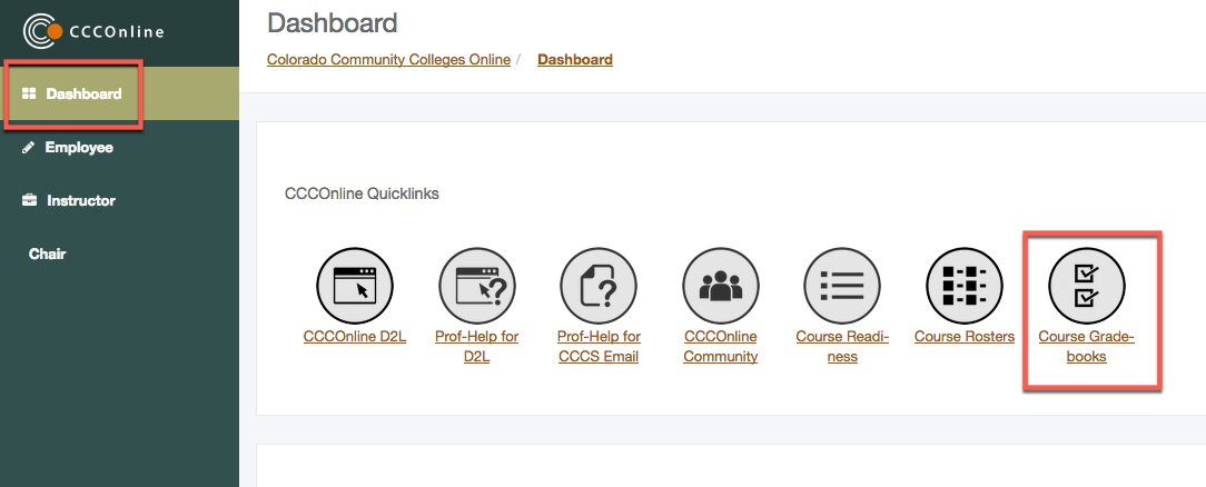 Portal Dashboard Course Gradebooks