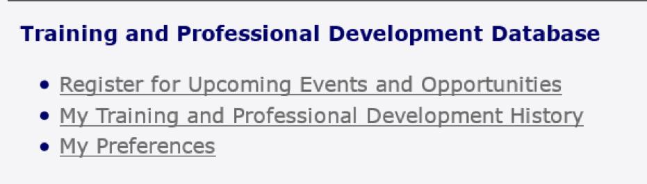 Training and Professional Development Database