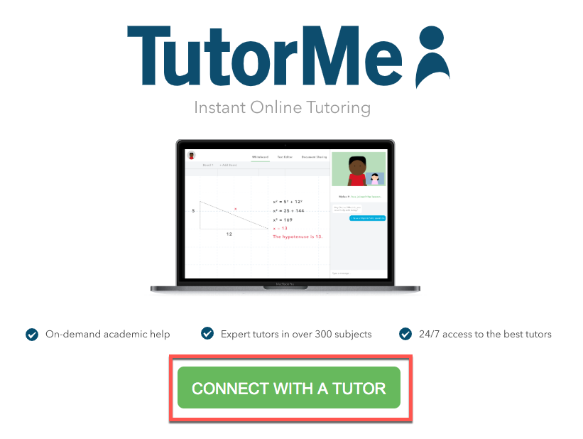 TutorMe Connect with Tutor