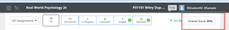 WileyPlus Learning Space Gradebook Overall Score example