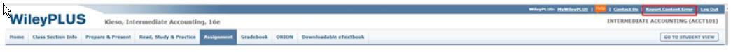 WileyPlus Read, Practice, Study report content error