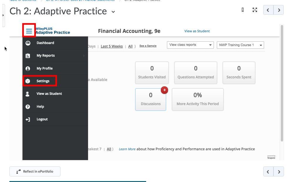 Wiley Adaptive Practice Main Menu Settings