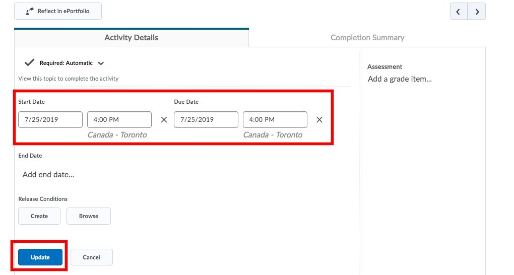 Wiley D2L Adaptive Practice add dates and restrictions