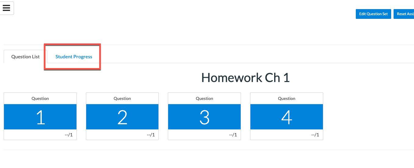 Wiley Student Progress tab