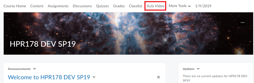 YuJa Video in D2L Navbar