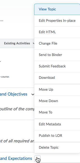 expanded Content item dropdown menu