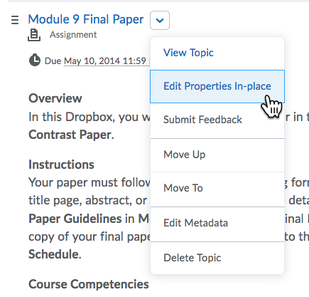 Content Topic Action menu expanded with Edit Properties highlighted