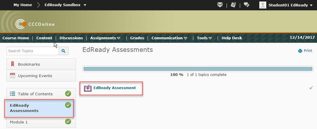 EdReady Assessment Content Module