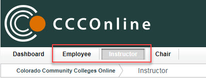 Employee, Instructor tab example
