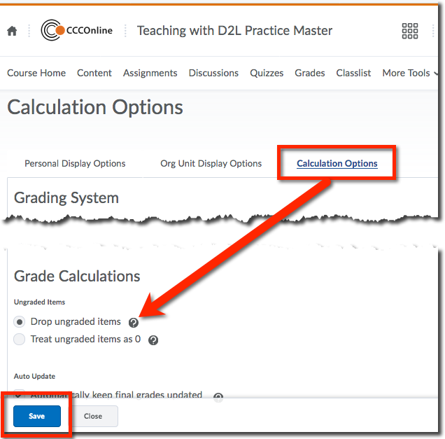 grade settings calculation options page with drop grades highlighted