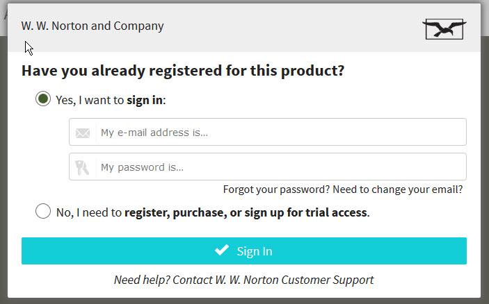 Norton ebook login window