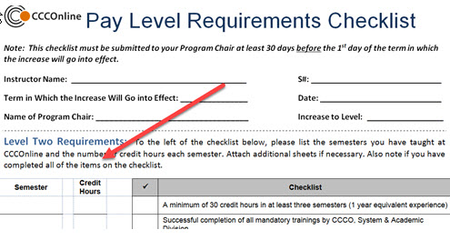 Pay Level Requirements Checklist example